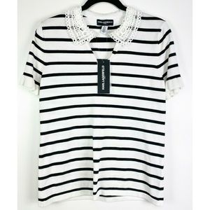 NWT Karl Lagerfield striped Top Lace Collar